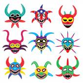 Vector icons set of Puerto Rican carnival masks isolated on white