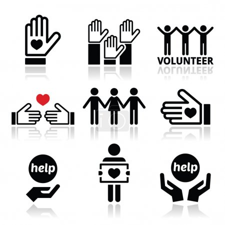 Illustration for Vector icons set - volunteering isolated on white - Royalty Free Image