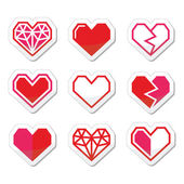 Vector icons set of cubic heart shapes isolated on white
