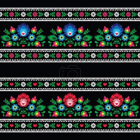Illustration for Repetitive cutout style background - Polish folk art decoration elements - Royalty Free Image
