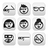 Vector black buttons set of modern technology - Google glass isolated on white