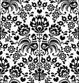 Repetitive black pattern on white background - folk art print from Poland