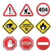 Warning signs - danger risk stress - flat design