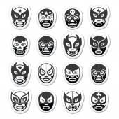 Lucha libre, luchador mexikói birkózó fekete maszkok ikonok