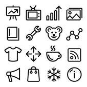 Web menu navigation line icons set - photo gallery online store