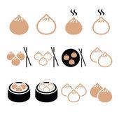 Chinese dumplings Asian food Dim Sum vector icons set