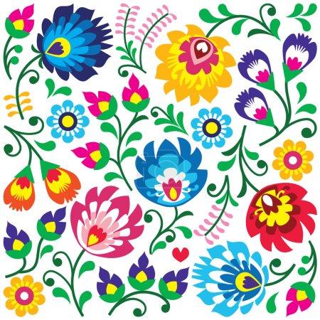 Floral Polish folk art pattern in square - Wzory Lowickie, Wycinanki