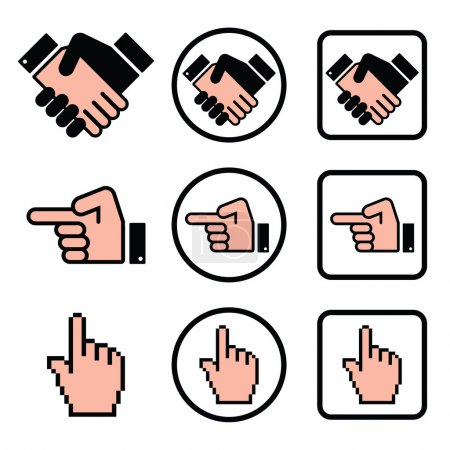 Handshake, pointing hand, cursor hand icons set
