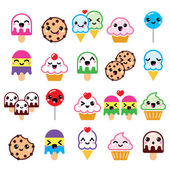 Cute Kawaii food characters - cupcake ice-cream cookie lollipop icons