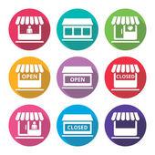 Shop or store supermarket flat design icons set