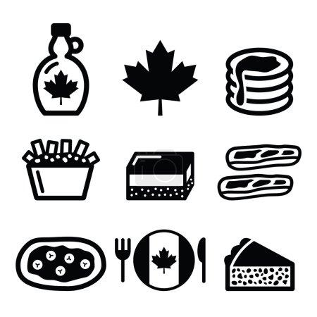 Illustration pour Ensemble d'icônes vectorielles - plats et repas traditionnels du Canada - image libre de droit