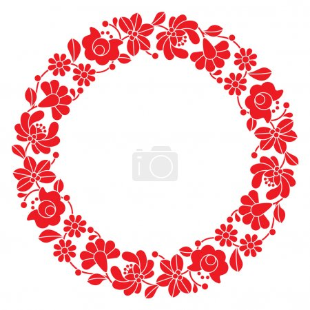 Kalocsai red embroidery in circle - Hungarian floral folk pattern