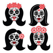 Dia de Los Muertos woman skull icons set isolated on white