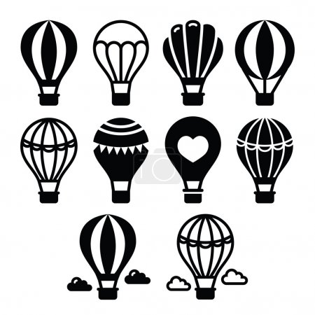 Illustration for Vector icons set of hot air balloon - travel, transportation concept - Royalty Free Image