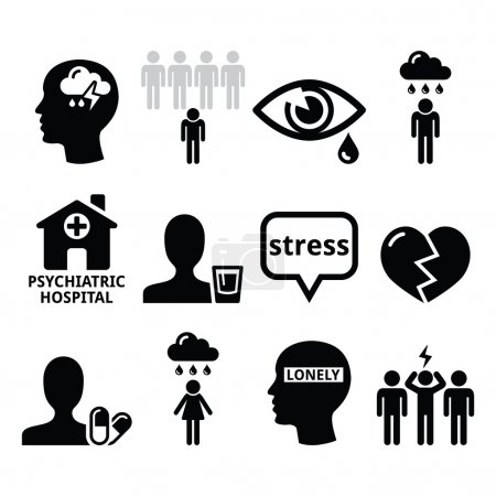 Illustration for Vector icons set - mental health isolated on white - Royalty Free Image