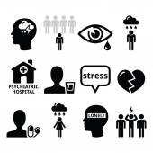 Mental health icons - depression addiction loneliness concept