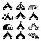Glamping luxurious camping tents and bambu houses icons set