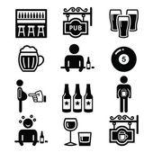 Hospoda, pití alkoholu, pivní břicho ikony nastavit