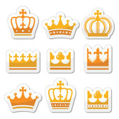 Crown royal family gold icons set