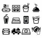 Take away box meal vector icons set