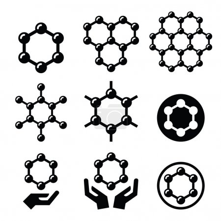 Illustration for Graphene nanomaterial chemical structure icons set isolated on white - Royalty Free Image