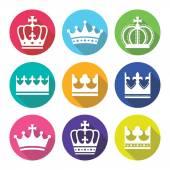 Crown royal family flat design icons set
