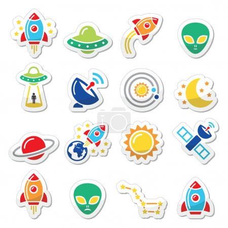 Illustration for Alien, space travel icons set isolated on white - Royalty Free Image