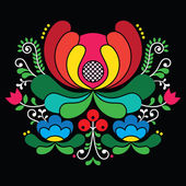 Vector background of floral folk art from Norway isolated on black