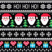 Christmas jumper or sweater seamless pattern with Santa and presents