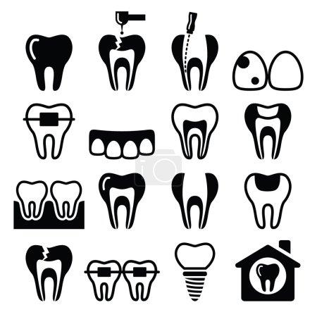 Tooth , teeth, dental clinic vector icons set