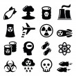 Nuclear power plant vector icons set isolated on w...