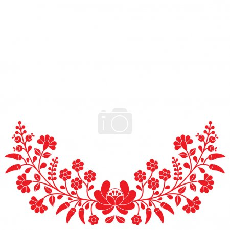 Hungarian red floral folk pattern - Kalocsai embroidery with flowers and paprika