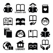 Children and adults reading books International Literacy Day icons