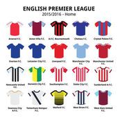 English Premier League 2015 - 2016 football or soccer jerseys icons set