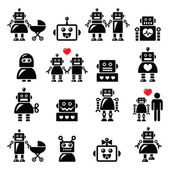 Robot family female baby robot icons set