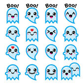 Vector icons set of cute Kawaii character isolated on white