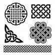 Set of traditional Celtic symbols in black isolate...