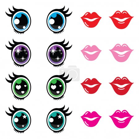 Illustration for Kawaii body parts - big eyes, lips icons isolated on white - Royalty Free Image
