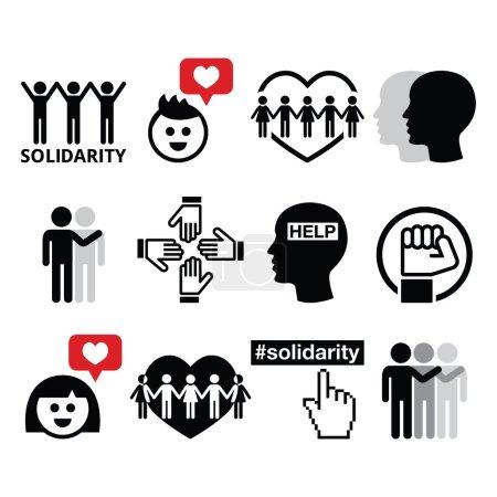 Illustration pour Set d'icônes vectorielles - Journée internationale de la solidarité humaine, 20 décembre - image libre de droit