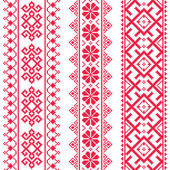 Ukrainian Belarusian red embroidery seamless pattern - Vyshyvanka