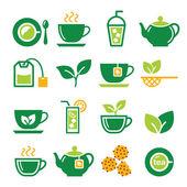 Green tea and ice tea vector icons set