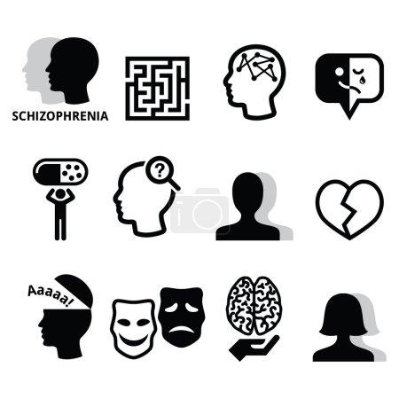 Illustration for Mental disorder - schizophrenia black icons set isolated on white - Royalty Free Image