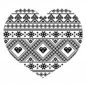 Heart geometric pattern in black isolated on white