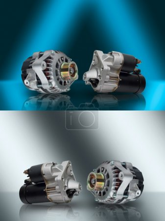 Alternator. Starter. Generator and starter. Car aggregates. Alternator and starter for car. Electrical units for car. Auto parts. Composition of the two electrical  parts for the engine