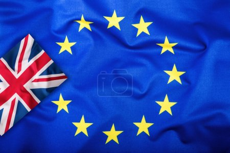 Brexit. Brexit Yes. Brexit No. Flags of the United Kingdom and the European Union. UK Flag and EU Flag. British Union Jack flag. Flag outside stars. England appearances in the European Union