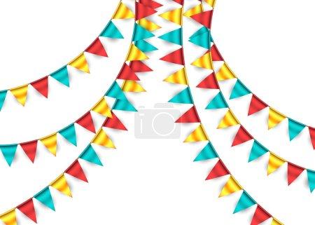 Ilustración de Ilustración de Vector, guirnaldas de cumpleaños celebración - Imagen libre de derechos