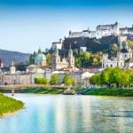 Beautiful view of Salzburg skyline with Festung Hohensalzburg and Salzach river in summer, Salzburg, Salzburger Land, Austria.