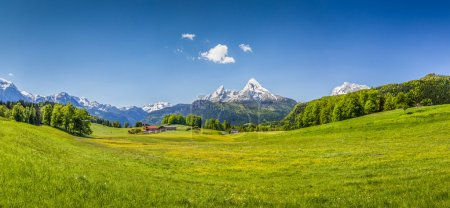Photo for Panoramic view of idyllic summer landscape in the Alps. - Royalty Free Image