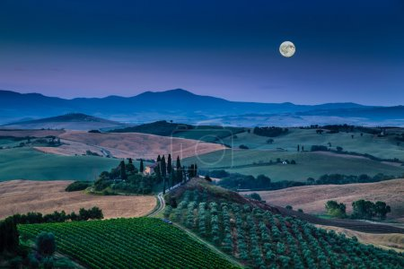 Scenic Tuscany landscape in moonlight at dawn, Val d'Orcia, Italy