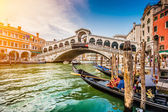 Canal Grande with Rialto Bridge at sunset, Venice, Italy